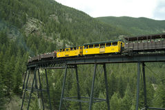 Locomotive and Boxcars on Trestle Bridge 2 Stock Photos