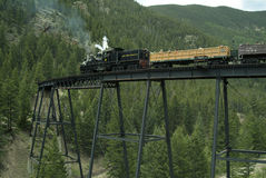 Locomotive and Boxcars on Trestle Bridge Royalty Free Stock Photos