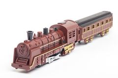 Locomotive train toy. Locomotive brown train toy for kids isolated Royalty Free Stock Images