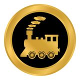 Locomotive button on white. Stock Photography