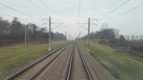 Locomotive cabin railroad view stock footage