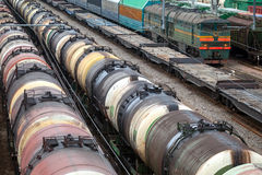 Locomotive and cargo trains Royalty Free Stock Photography