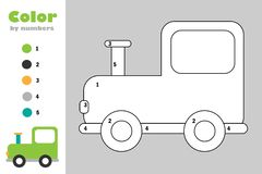 Locomotive in cartoon style, color by number, education paper game for the development of children, coloring page, kids preschool vector illustration