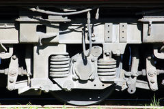 Locomotive, close up wheel. Close up wheel of locomotive, show brake and traction-moter Stock Photos