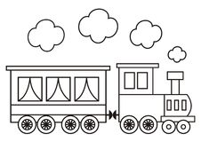 Locomotive, coloring book. Train, locomotive and wagon. Coloring for kids Royalty Free Stock Photos