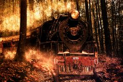 Locomotive, Composition, Photoshop Royalty Free Stock Image