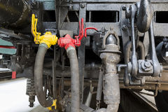 Locomotive connection hoses Stock Images