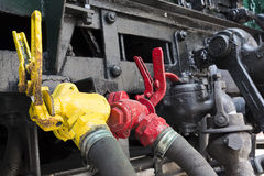 Locomotive connection hoses Stock Photography