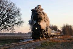 Locomotive at Crossing Stock Image