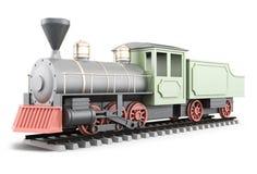 locomotive 3d et chariot sur un fond blanc Images stock
