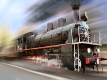 Locomotive dans la tache floue de mouvement Photo libre de droits