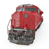 Locomotive diesel-électrique sur le blanc 3D illustration, chemin de coupure Photographie stock
