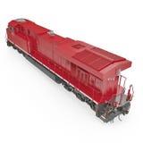 Locomotive diesel-électrique sur le blanc 3D illustration, chemin de coupure Image libre de droits