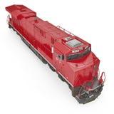 Locomotive diesel-électrique sur le blanc 3D illustration, chemin de coupure Images libres de droits