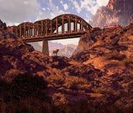 Locomotive diesel et mouflons d'Amérique de désert Image libre de droits