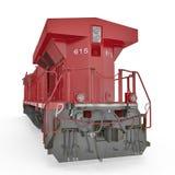 Locomotive diesel rouge sur le blanc blanc d'isolement de vue arrière 3D illustration, chemin de coupure Image stock