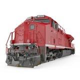 Locomotive diesel rouge sur le blanc 3D illustration, chemin de coupure Image stock