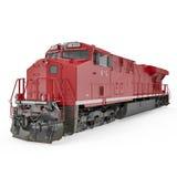 Locomotive diesel rouge sur le blanc 3D illustration, chemin de coupure Photographie stock