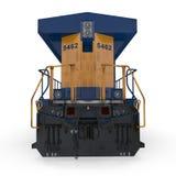 Locomotive diesel sur le blanc blanc d'isolement de vue arrière illustration 3D Photos stock
