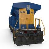 Locomotive diesel sur le blanc blanc d'isolement de vue arrière illustration 3D Photographie stock libre de droits