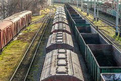 The locomotive drags freight cars. Odessa port railway infrastructure, cargo terminal Stock Photography