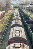 The locomotive drags freight cars Stock Photography