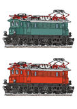 Locomotive. Drawing of old electric locomotive, green and orange alternative Stock Photos