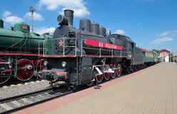Locomotive EM 740-57. Russia, Museum of Railway Transport of the Moscow railway, Freight locomotive EM 740-57 (Modernised) was built at the Kharkov Locomotive Royalty Free Stock Image