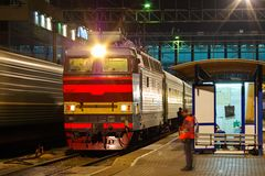 Locomotive or engine is a rail transport vehicle that provides the motive power for a train. Novosibirsk, Russia - July 20, 2018: locomotive or engine is a rail royalty free stock photos
