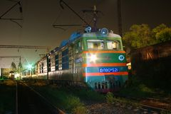 Locomotive or engine is a rail transport vehicle that provides the motive power for a train. Novosibirsk, Russia - July 20, 2018: locomotive or engine is a rail royalty free stock image