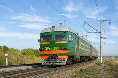 Locomotive or engine is a rail transport vehicle that provides the motive power for a train. Novosibirsk, Russia - July 20, 2018: locomotive or engine is a rail stock photography