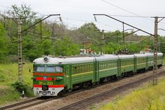 Locomotive or engine is a rail transport vehicle that provides the motive power for a train. Novosibirsk, Russia - July 20, 2018: locomotive or engine is a rail stock image