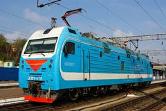 Locomotive or engine is a rail transport vehicle that provides the motive power for a train. Novosibirsk, Russia - July 20, 2018: locomotive or engine is a rail stock images
