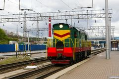 Locomotive or engine is a rail transport vehicle that provides the motive power for a train. Novosibirsk, Russia - July 20, 2018: locomotive or engine is a rail stock photo