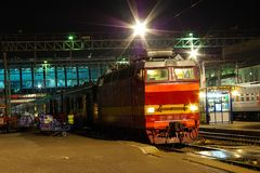 Locomotive or engine is a rail transport vehicle that provides the motive power for a train. Novosibirsk, Russia - July 20, 2018: locomotive or engine is a rail royalty free stock images