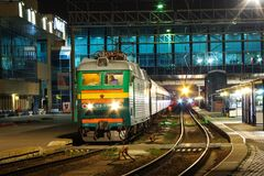 Locomotive or engine is a rail transport vehicle that provides the motive power for a train. Novosibirsk, Russia - July 20, 2018: locomotive or engine is a rail royalty free stock photography