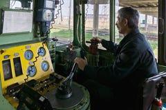Locomotive engineer sideview Stock Photos