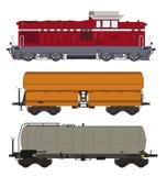Locomotive et chariots Images libres de droits