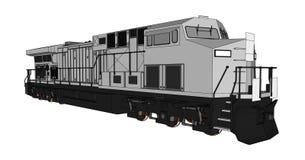 Locomotive ferroviaire diesel moderne avec la grande puissance et la force pour déplacer le long et lourd train de chemin de fer  Photos stock