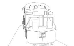 Locomotive ferroviaire diesel moderne avec la grande puissance et la force pour déplacer le long et lourd train de chemin de fer  Image libre de droits