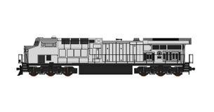 Locomotive ferroviaire diesel moderne avec la grande puissance et la force pour déplacer le long et lourd train de chemin de fer  Photographie stock