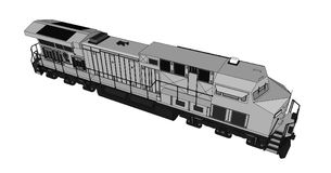 Locomotive ferroviaire diesel moderne avec la grande puissance et la force pour déplacer le long et lourd train de chemin de fer  Photos libres de droits