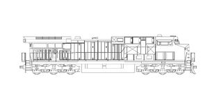 Locomotive ferroviaire diesel moderne avec la grande puissance et la force pour déplacer le long et lourd train de chemin de fer  Photo libre de droits