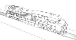 Locomotive ferroviaire diesel moderne avec la grande puissance et la force pour déplacer le long et lourd train de chemin de fer  Images stock