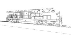 Locomotive ferroviaire diesel moderne avec la grande puissance et la force pour déplacer le long et lourd train de chemin de fer  Image stock