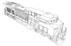 Locomotive ferroviaire diesel moderne avec la grande puissance et la force pour déplacer le long et lourd train de chemin de fer  Photo stock
