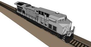 Locomotive ferroviaire diesel moderne avec la grande puissance et la force pour déplacer le long et lourd train de chemin de fer  Images libres de droits