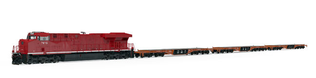 Locomotive and flat cars on white. 3D illustration Stock Photography