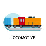 Locomotive in flat style Stock Photography