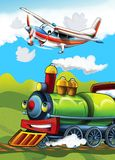 The locomotive and the flying machine - illustration for the children Stock Photos